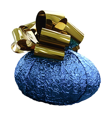 Baroque Egg with Bow (Blue/Gold)