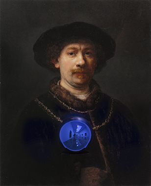 Gazing Ball (Rembrandt Self-Portrait Wearing a Hat)