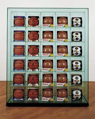 Encased - Five Rows (6 Spalding Scottie Pippen Basketballs, 6 Spalding Shaq Attaq Basketballs, 6 Wilson Supershot Basketballs, 6 Wilson Supershot Basketballs, 6 Franklin 6034 Soccerballs)