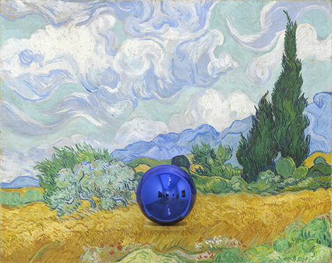 Gazing Ball (van Gogh Wheatfield with Cypresses)